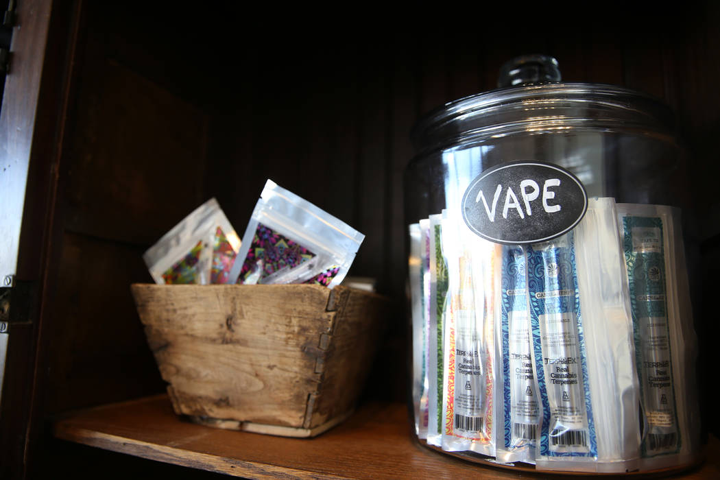Vape products inside the newly opened KANA Modern Apothecary hemp shop in downtown Las Vegas, Friday, June 1, 2018. Erik Verduzco Las Vegas Review-Journal @Erik_Verduzco