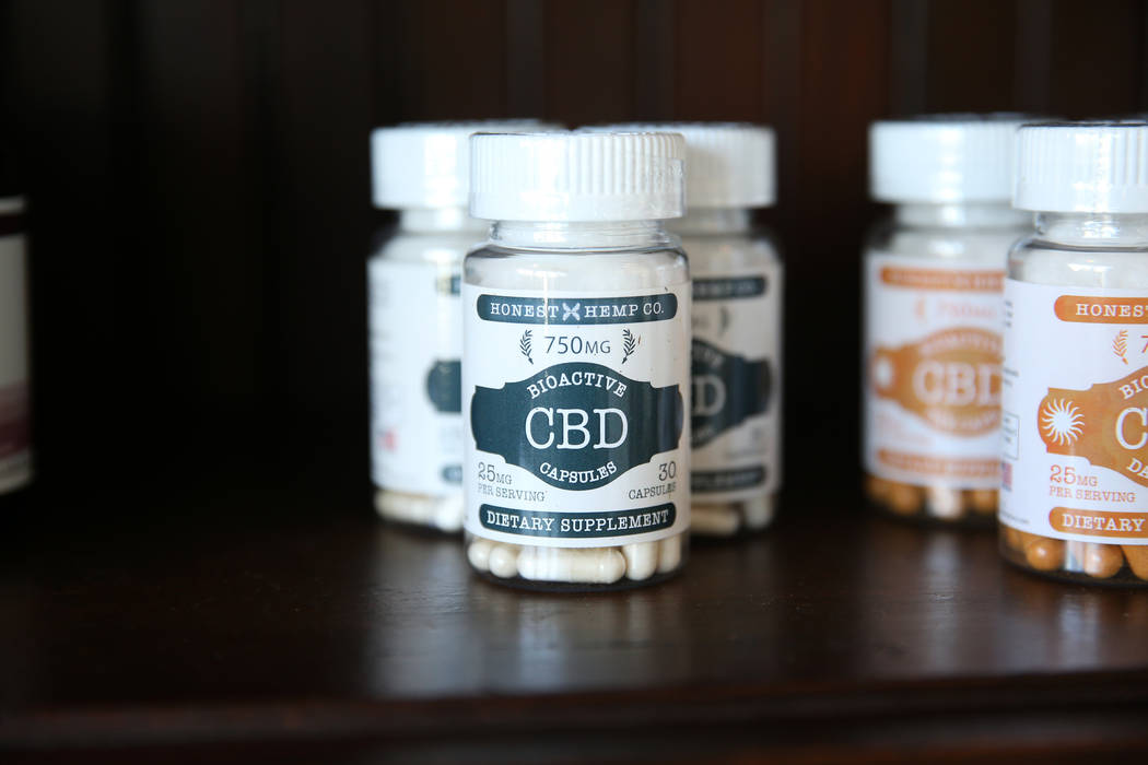CBD capsules inside the newly opened KANA Modern Apothecary hemp shop in downtown Las Vegas, Friday, June 1, 2018. Erik Verduzco Las Vegas Review-Journal @Erik_Verduzco