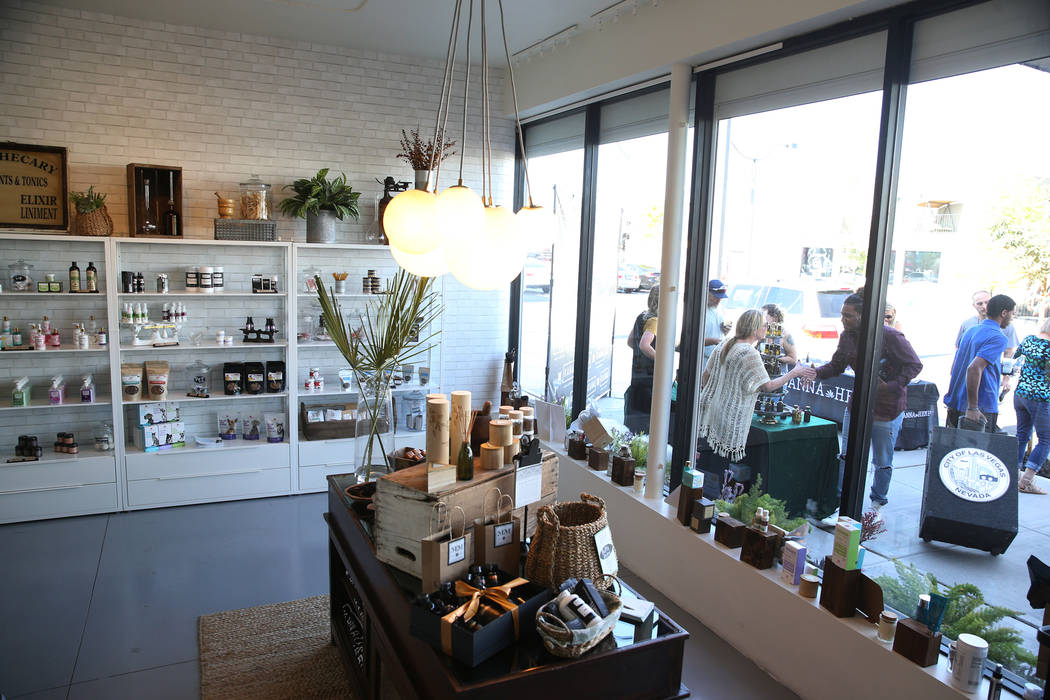 The newly opened KANA Modern Apothecary hemp shop in downtown Las Vegas, Friday, June 1, 2018. Erik Verduzco Las Vegas Review-Journal @Erik_Verduzco