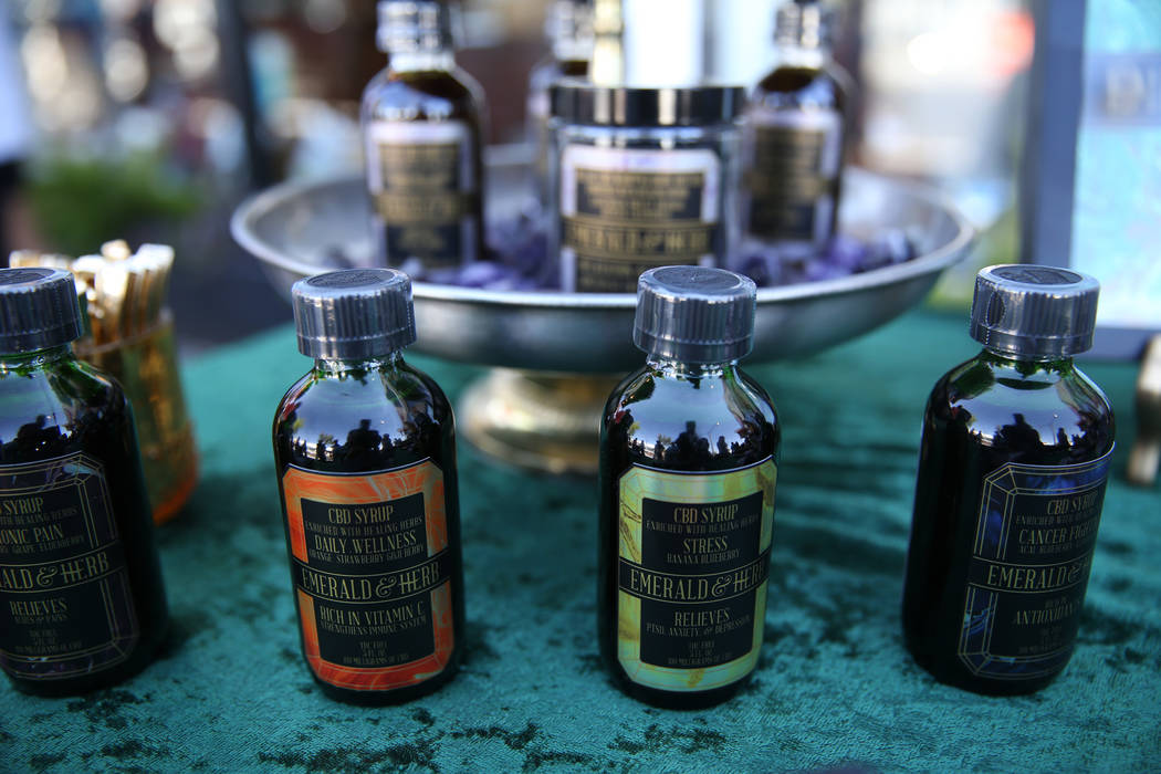 CBD products on display during the KANA Modern Apothecary hemp shop grand opening in downtown Las Vegas, Friday, June 1, 2018. Erik Verduzco Las Vegas Review-Journal @Erik_Verduzco