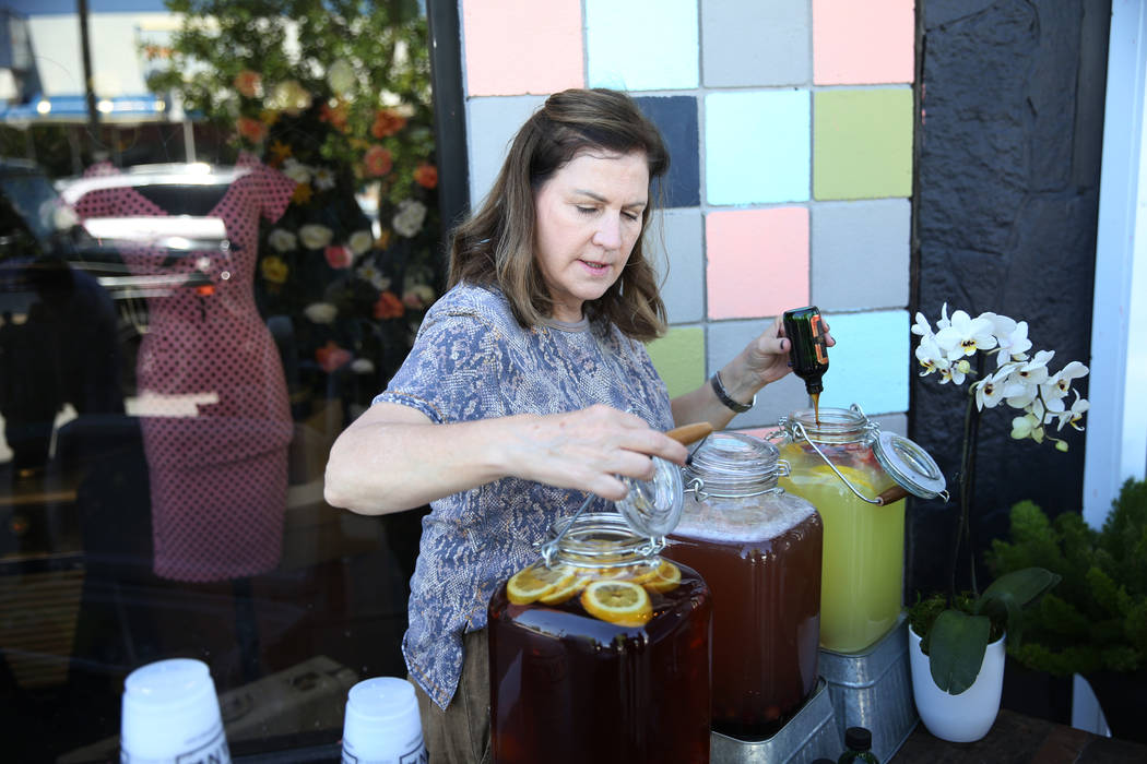 Amy Lindner, design coordinator for KANA Modern Apothecary hemp shop, during the grand opening of the hemp shop in downtown Las Vegas, Friday, June 1, 2018. Erik Verduzco Las Vegas Review-Journal ...