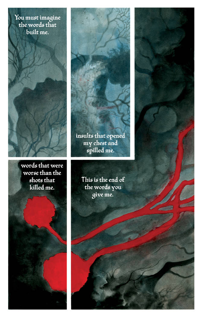 "A page from ""Where We Live"" features art by J.H. Williams III and text by Neil Gaiman."