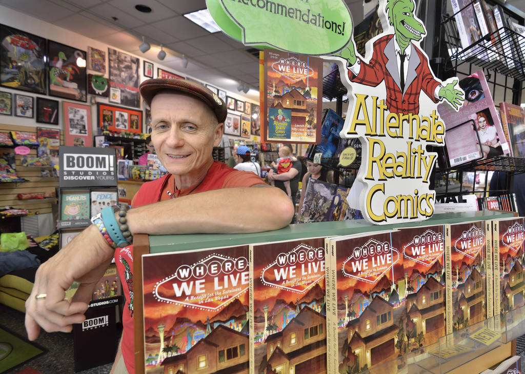 Ralph Matthieu, owner of Alternate Reality Comics, is shown during a book launch and signing for ÒWhere We Live,Ó a comic book anthology dealing with the Route 91 Harvest Festival shooti ...