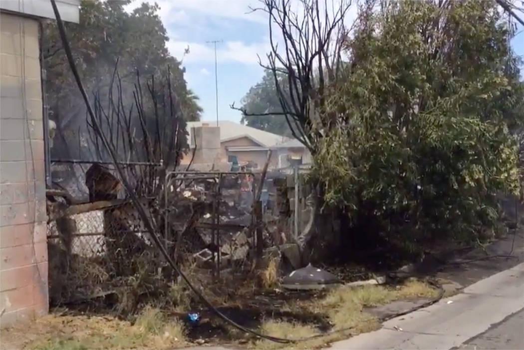 A fire burned an area near East Charleston Boulevard in Las Vegas on Saturday. (Las Vegas Fire & Rescue via Twitter)
