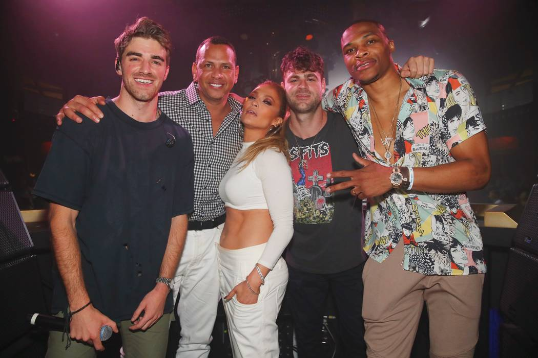 Drew Taggart, Alex Rodriguez, Jennifer Lopez, Alex Pall and Russell Westbrook are shown at XS Nightclub after JLo's appearance at the club with The Chainsmokers on Friday, June 1, 2018. (Danny Mah ...