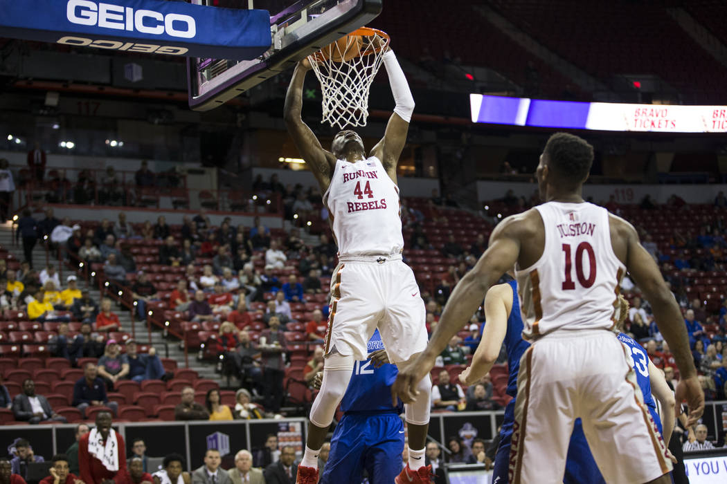 UNLV Rebels forward Brandon McCoy (44) scores a shot against Air Force Falcons in the second half of the Mountain West Conference men's basketball tournament game at the Thomas & Mack Center i ...
