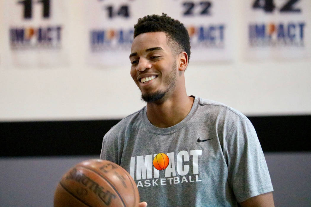 Former Centennial High School basketball star and Oregon Duck Troy Brown Jr. at Impact Basketball in Las Vegas, Wednesday, May 23, 2018. Brown Jr., just returned from the NBA Combine in Chicago, w ...