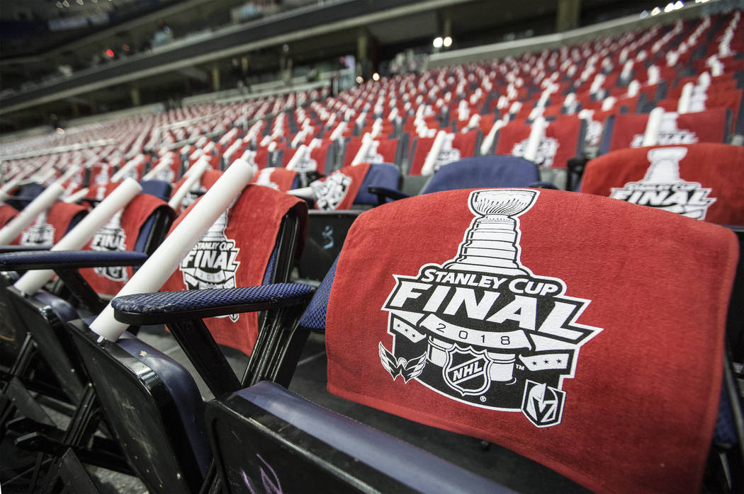 Capital One Arena is set for Game 3 of the NHL Stanley Cup Final between the Golden Knights and Washington Capitals on Saturday, June 2, 2018, in Washington. Benjamin Hager Las Vegas Review-Journa ...