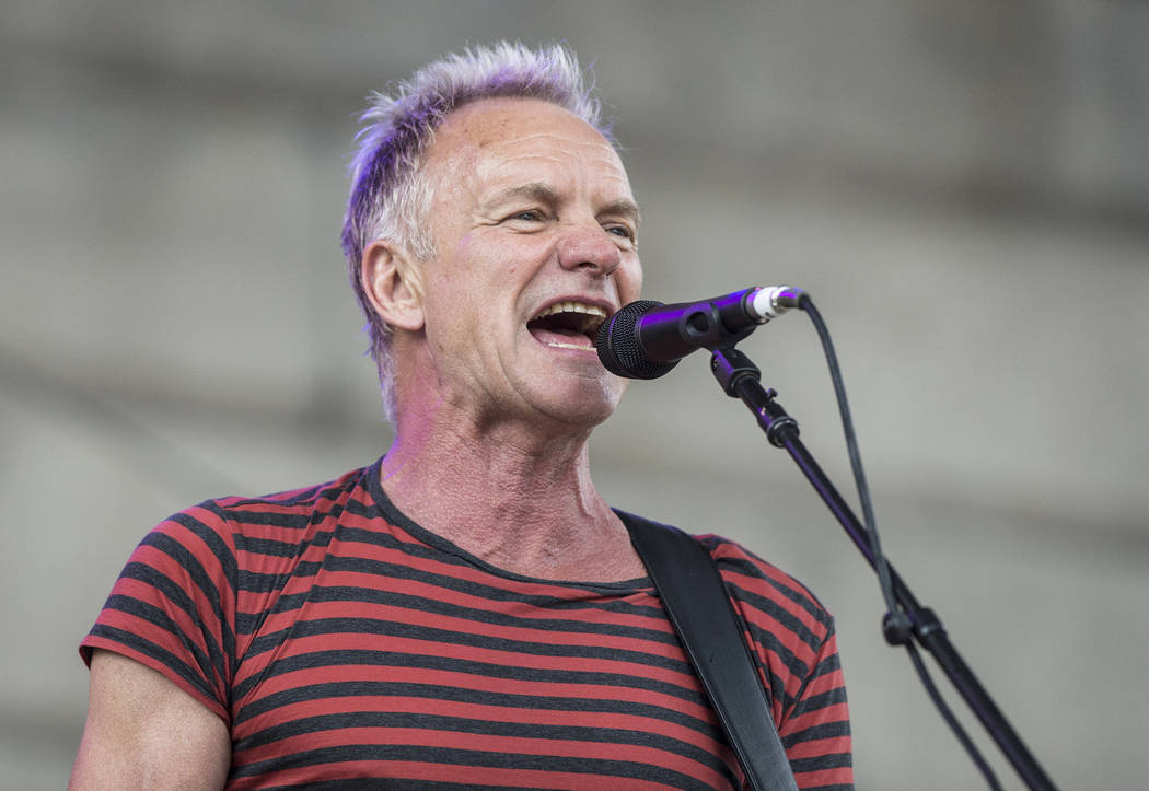 Sting performs outside Capital One Arena before the start of Game 3 of the NHL Stanley Cup Final with the Golden Knights and Washington Capitals on Saturday, June 2, 2018, in Washington. Benjamin ...