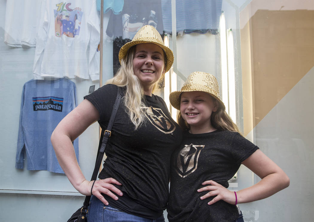 Golden Knights fans Joanne Regenbaum and Marissa Montalbo outside Capital One Arena before the start of Game 3 of the NHL Stanley Cup Final with the Washington Capitals on Saturday, June 2, 2018, ...