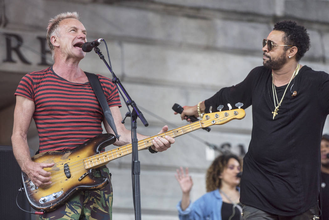 Sting, left, and Shaggy perform outside Capital One Arena before the start of Game 3 of the NHL Stanley Cup Final with the Golden Knights and Washington Capitals on Saturday, June 2, 2018, in Wash ...
