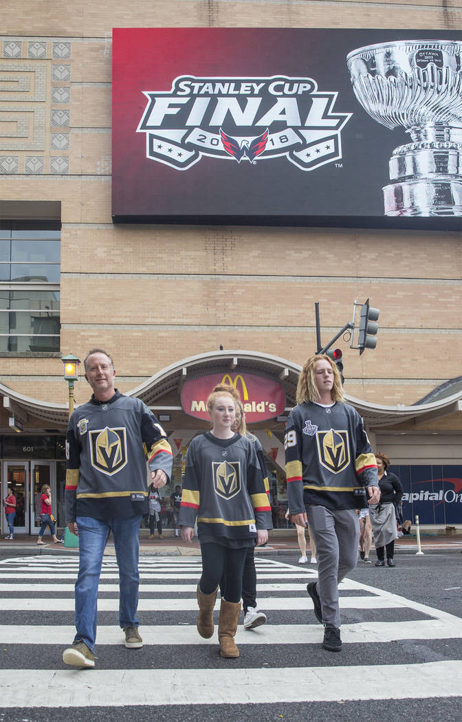 Golden Knights fans outside Capital One Arena before the start of Game 3 of the NHL Stanley Cup Final with the Washington Capitals on Saturday, June 2, 2018, in Washington. Benjamin Hager Las Vega ...