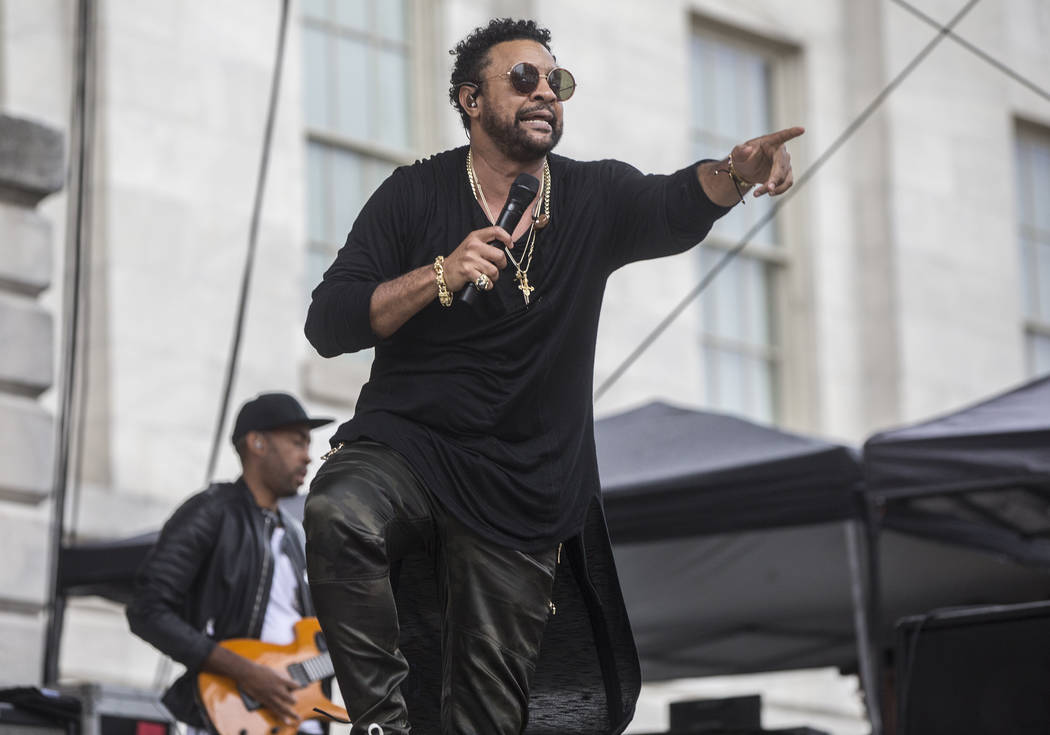 Shaggy performs outside Capital One Arena before the start of Game 3 of the NHL Stanley Cup Final with the Golden Knights and Washington Capitals on Saturday, June 2, 2018, in Washington. Benjamin ...