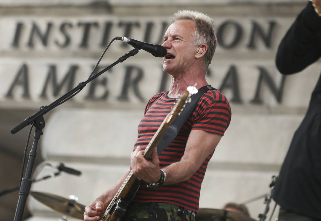 Sting performs outside of the National Portrait Gallery before the start of Game 3 of the NHL hockey Stanley Cup Final at Capital One Arena in Washington on Saturday, June 2, 2018. Chase Stevens L ...