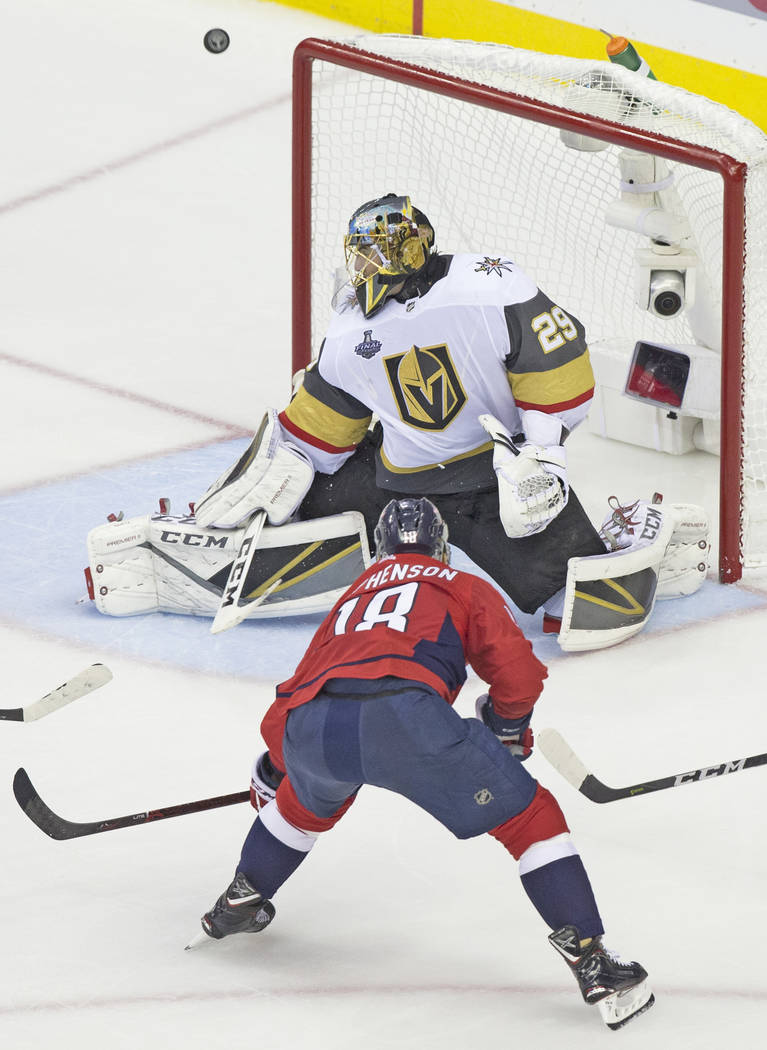 Golden Knights goaltender Marc-Andre Fleury (29) makes a save against Capitals center Chandler Stephenson (18) in the third period during Game 3 of the NHL Stanley Cup Final on Saturday, June 2, 2 ...