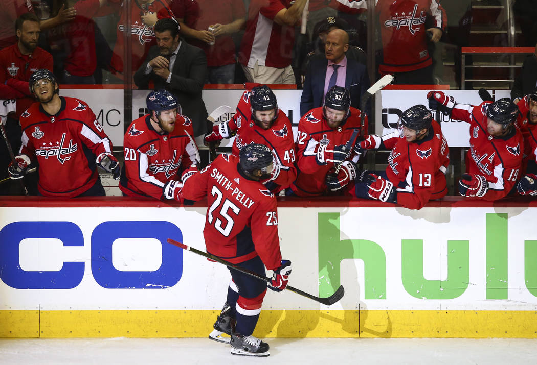 Washington Capitals right wing Devante Smith-Pelly (25) celebrates his goal during the third period of Game 3 of the NHL hockey Stanley Cup Final against the Golden Knights at Capital One Arena in ...