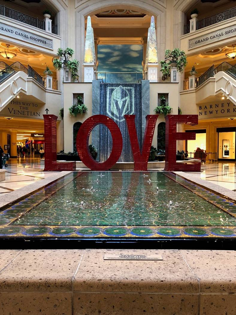 The Vegas Golden Knights logo is shown at Waterfall Atrium at the Venetian, where it will be on display through the end of the Stanley Cup Final. (Las Vegas Sands)