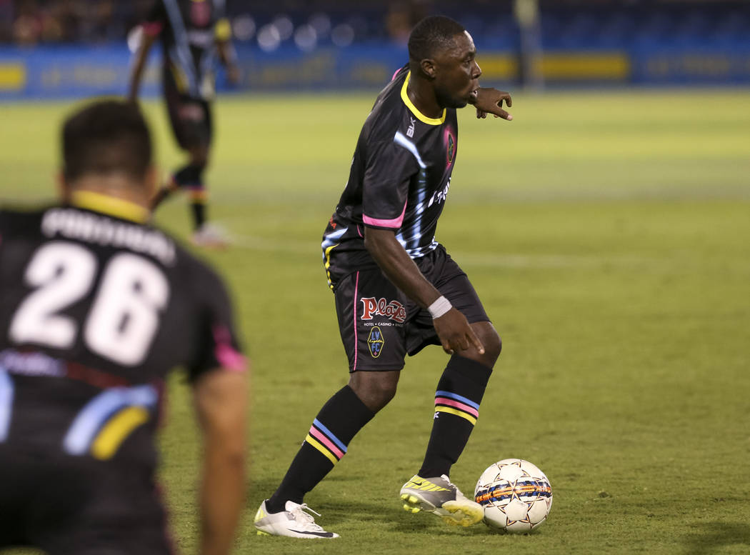 Las Vegas Lights FC midfielder Freddy Adu carries the ball against the Real Monarchs during the second half of a United Soccer League game at Cashman Field in Las Vegas on Saturday, May 19, 2018. ...