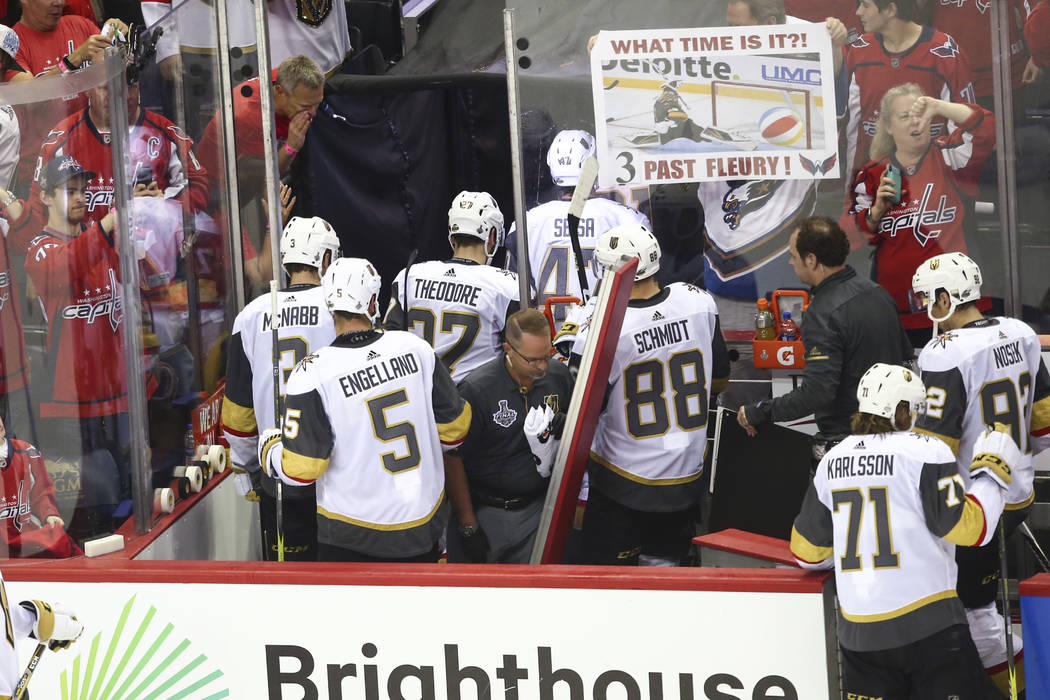 Golden Knights players leave the ice after losing 3-1 to the Washington Capitals in Game 3 of the NHL hockey Stanley Cup Final at Capital One Arena in Washington on Saturday, June 2, 2018. Chase S ...