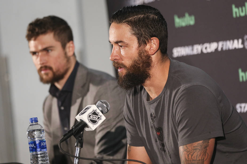 Golden Knights defenseman Deryk Engelland answers questions at the Kettler Capitals Iceplex ahead of Game 4 of the Stanley Cup Final in Arlington, Va. on Sunday, June 3, 2018. Chase Stevens Las Ve ...