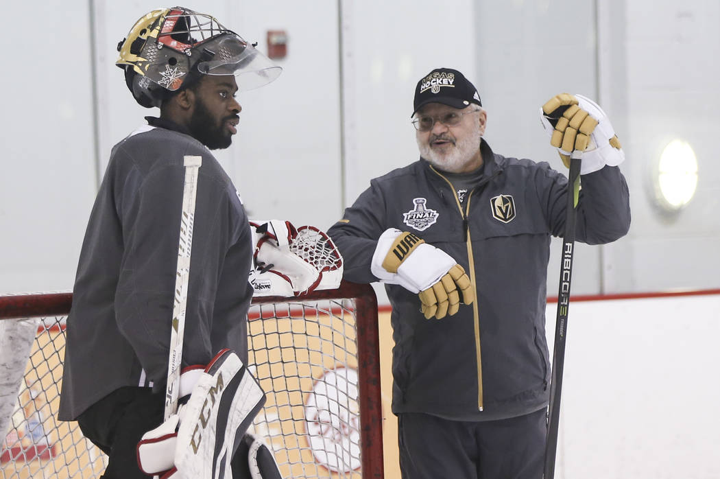 Golden Knights goaltender Malcolm Subban talks with goaltending coach David Prior during practice at the Kettler Capitals Iceplex ahead of Game 4 of the Stanley Cup Final in Arlington, Va. on Sund ...
