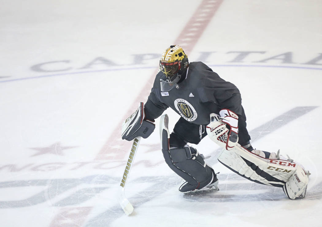 Golden Knights goaltender Malcolm Subban warms up during practice at the Kettler Capitals Iceplex ahead of Game 4 of the Stanley Cup Final in Arlington, Va. on Sunday, June 3, 2018. Chase Stevens ...