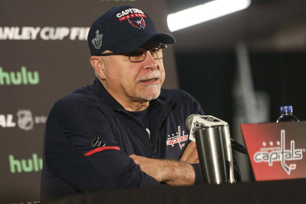 Washington Capitals head coach Barry Trotz answers questions at the Kettler Capitals Iceplex ahead of Game 4 of the Stanley Cup Final in Arlington, Va. on Sunday, June 3, 2018. Chase Stevens Las V ...