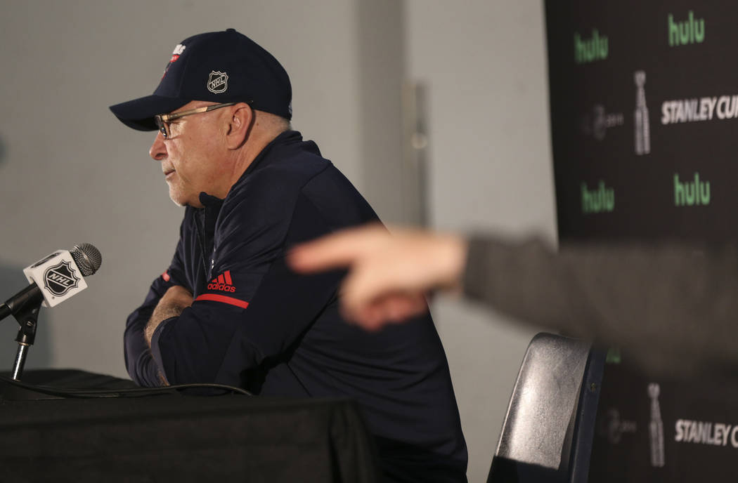 Washington Capitals head coach Barry Trotz answers questions at the Kettler Capitals Iceplex ahead of Game 4 of the Stanley Cup Final in Arlington, Virginia, on Sunday, June 3, 2018. Chase Stevens ...
