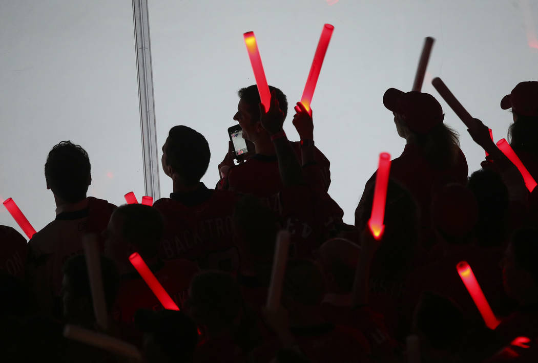 Washington Capitals fans at the start of Game 3 of the NHL hockey Stanley Cup Final against the Golden Knights at Capital One Arena in Washington on Saturday, June 2, 2018. Chase Stevens Las Vegas ...