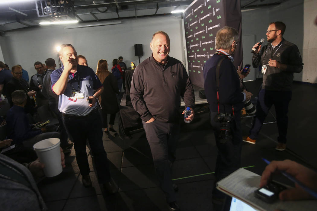 Golden Knights head coach Gerard Gallant after answering questions at the Kettler Capitals Iceplex ahead of Game 4 of the Stanley Cup Final in Arlington, Va. on Sunday, June 3, 2018. Chase Stevens ...