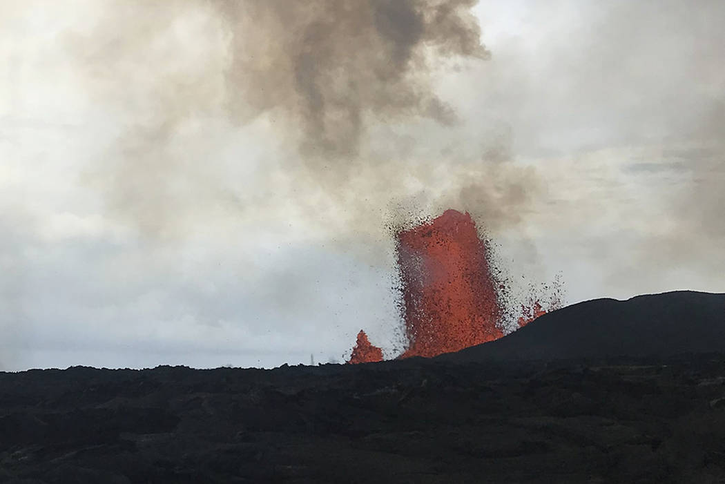 The Fissure 8 lava fountain is seen on Kilauea near Pahoa, Hawaii. (U.S. Geological Survey via AP)