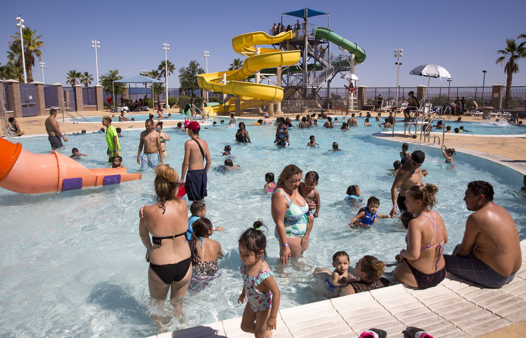 Visitors in the pool at the outdoor water park at Desert Breeze Aquatic Center in Las Vegas on Sunday, June 3, 2018. Richard Brian Las Vegas Review-Journal @vegasphotograph