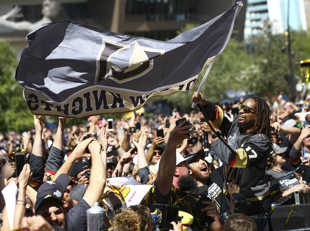 Lil Jon waves a Golden Knights flag during a concert ahead of Game 1 of the NHL hockey Stanley Cup Final at the T-Mobile Arena in Las Vegas on Monday, May 28, 2018. Chase Stevens Las Vegas Review- ...