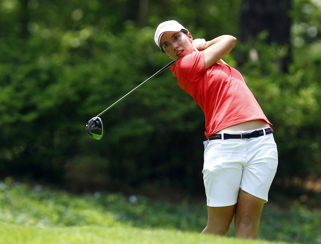 Carlota Ciganda, of Spain, tees off on the second hole during the final round of the U.S. Women's Open golf tournament at Shoal Creek, Sunday, June 3, 2018, in Birmingham, Ala. (AP Photo/Butch Dill)