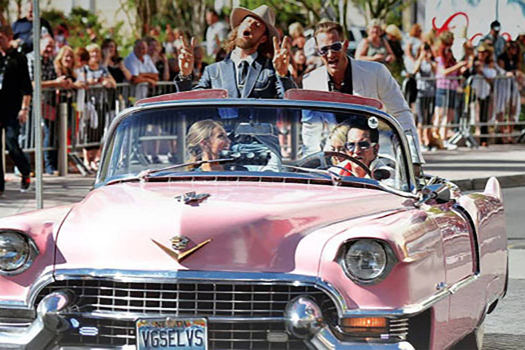 Jesse Garon, the official Elvis of Las Vegas, escorted the Florida Georgia Line Las Vegas-style down the red carpet in his 1955 pink Cadillac convertible at the 52nd Country Music Awards.