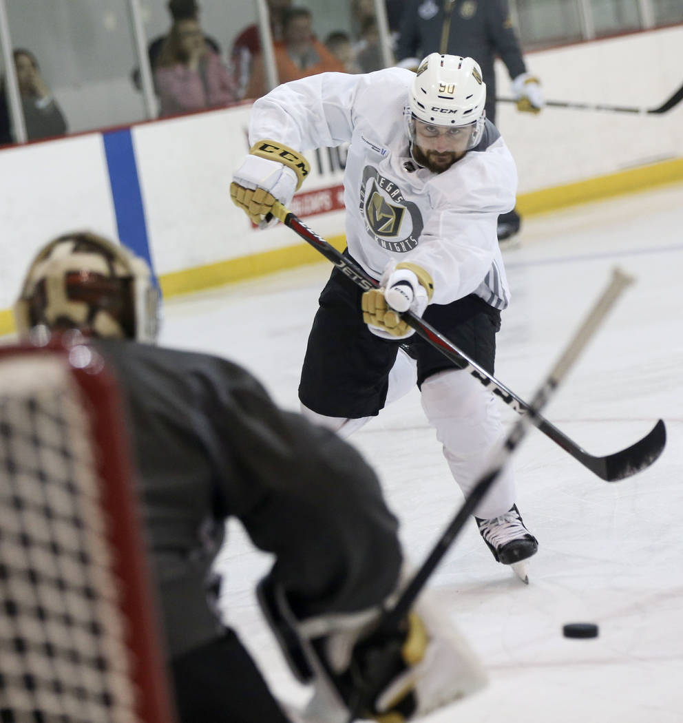 Golden Knights left wing Tomas Tatar (90) shoots against Golden Knights goaltender Maxime Lagace (33) during practice at the Kettler Capitals Iceplex ahead of Game 4 of the Stanley Cup Final in Ar ...