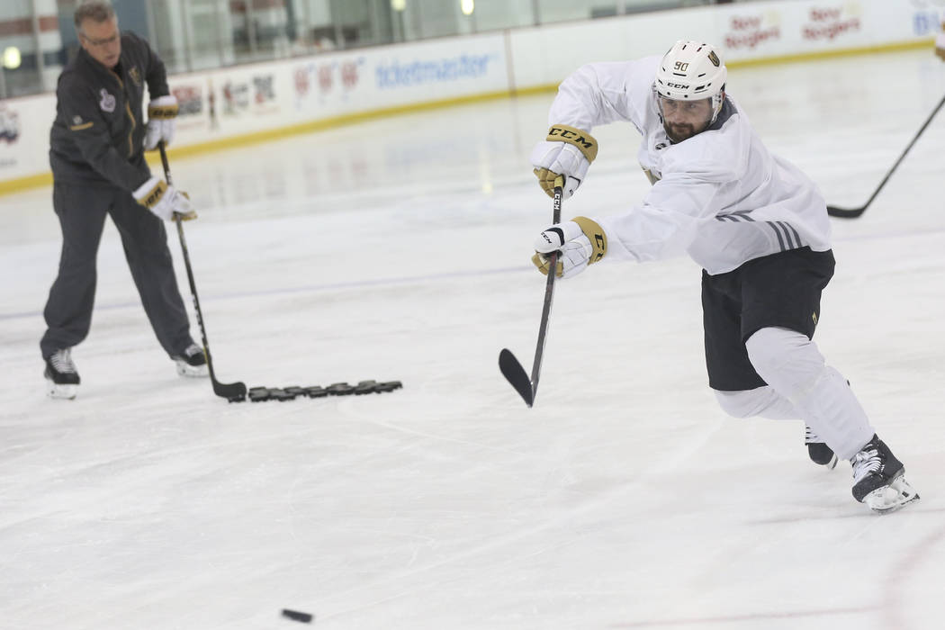 Golden Knights left wing Tomas Tatar (90) shoots during practice at the Kettler Capitals Iceplex ahead of Game 4 of the Stanley Cup Final in Arlington, Va. on Sunday, June 3, 2018. Chase Stevens L ...