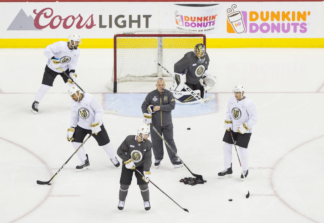 The Golden Knights runs through drills during practice leading up to Game 4 of the NHL Stanley Cup Final with the Washington Capitals on Monday, June 4, 2018, in Washington. Benjamin Hager Las Veg ...