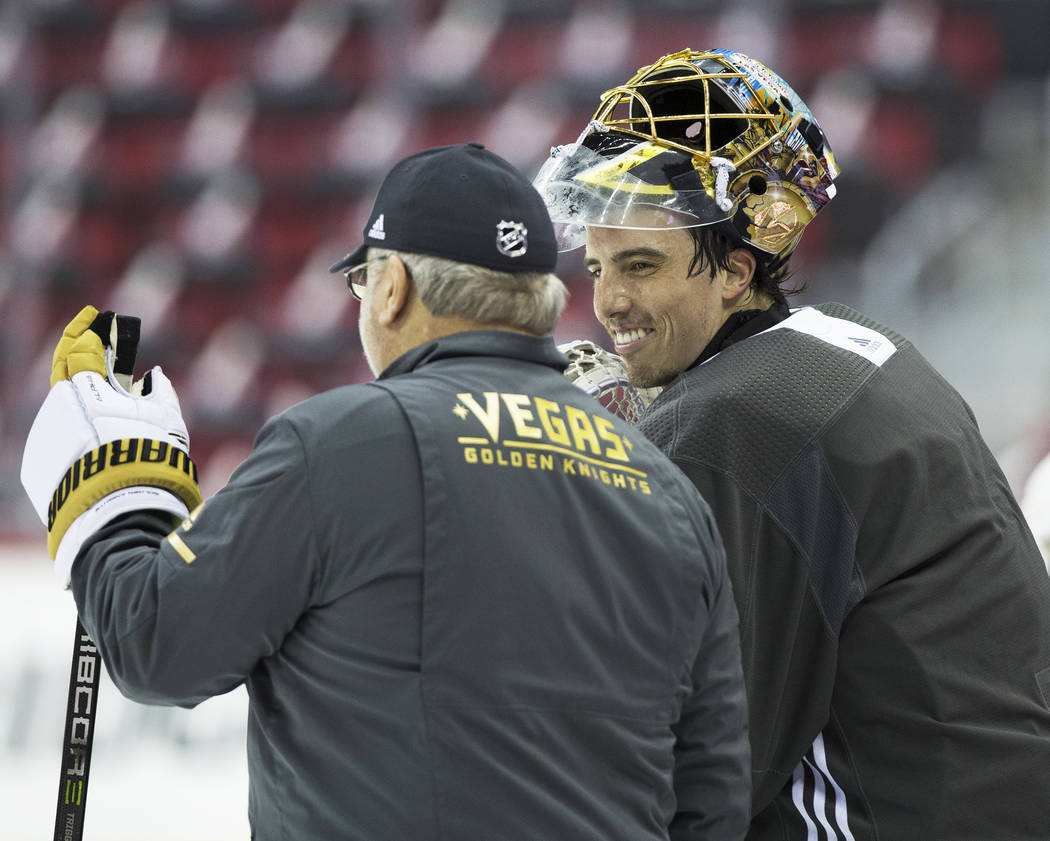 Golden Knights goaltender Marc-Andre Fleury (29) stays loose during practice leading up to Game 4 of the NHL Stanley Cup Final with the Washington Capitals on Monday, June 4, 2018, in Washington. ...