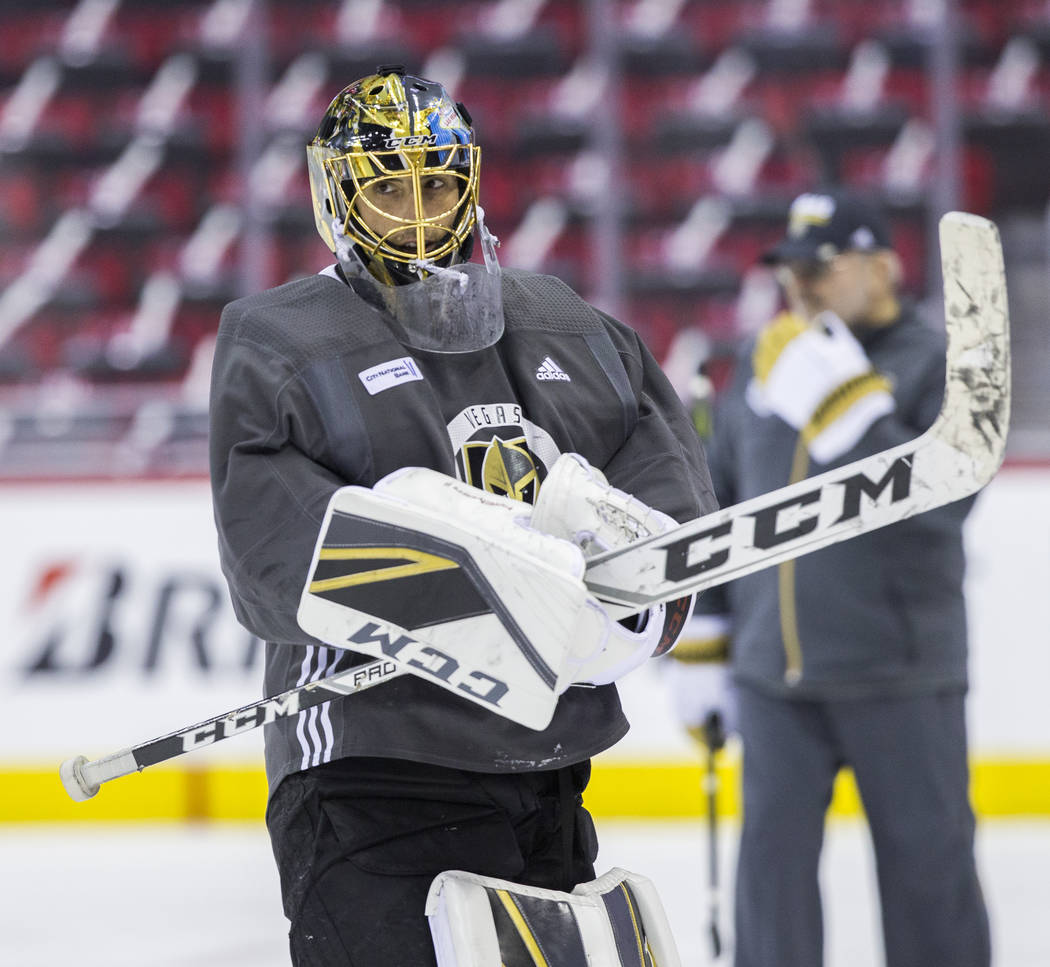 Golden Knights goaltender Marc-Andre Fleury (29) during practice leading up to Game 4 of the NHL Stanley Cup Final with the Washington Capitals on Monday, June 4, 2018, in Washington. Benjamin Hag ...