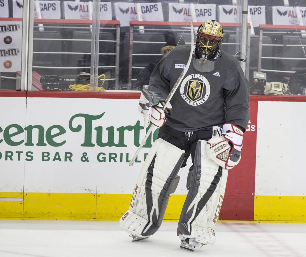 Golden Knights goaltender Malcolm Subban (30) warms up during practice leading up to Game 4 of the NHL Stanley Cup Final with the Washington Capitals on Monday, June 4, 2018, in Washington. Benjam ...