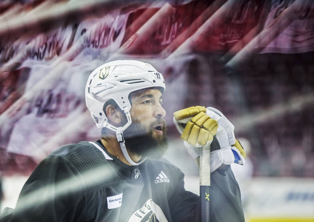Golden Knights defenseman Deryk Engelland (5) during practice leading up to Game 4 of the NHL Stanley Cup Final with the Washington Capitals on Monday, June 4, 2018, in Washington. Benjamin Hager ...