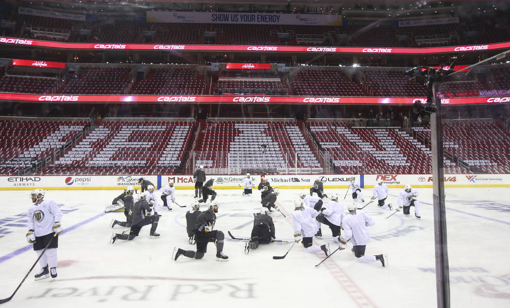 c5881314a Golden Knights players stretch during practice ahead of Game 4 of the Stanley  Cup Final at