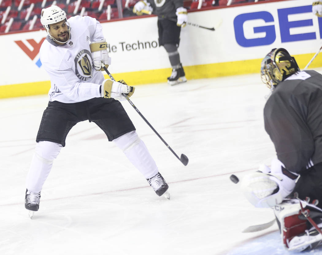Golden Knights right wing Ryan Reaves shoots against Golden Knights goaltender Marc-Andre Fleury during practice ahead of Game 4 of the Stanley Cup Final at Capital One Arena in Washington on Mond ...
