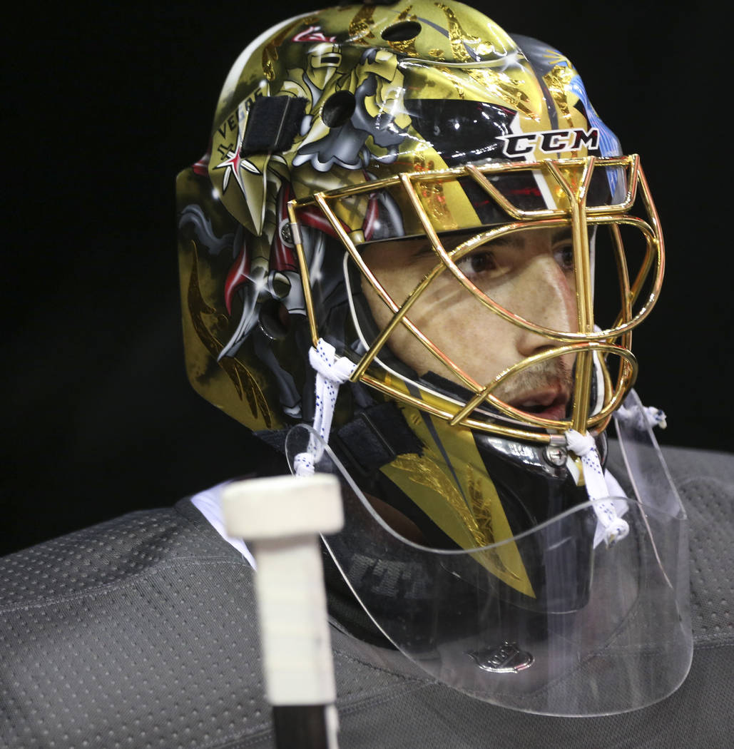 Golden Knights goaltender Marc-Andre Fleury gets ready for practice ahead of Game 4 of the Stanley Cup Final at Capital One Arena in Washington on Monday, June 4, 2018. Chase Stevens Las Vegas Rev ...