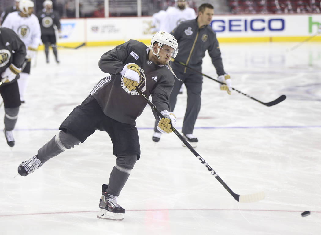 Golden Knights defenseman Nate Schmidt shoots during practice ahead of Game 4 of the Stanley Cup Final at Capital One Arena in Washington on Monday, June 4, 2018. Chase Stevens Las Vegas Review-Jo ...