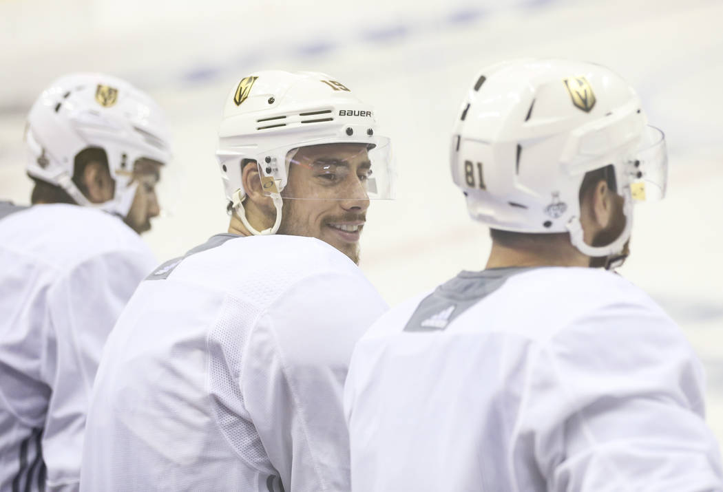 Golden Knights right wing Reilly Smith looks on during practice ahead of Game 4 of the Stanley Cup Final at Capital One Arena in Washington on Monday, June 4, 2018. Chase Stevens Las Vegas Review- ...