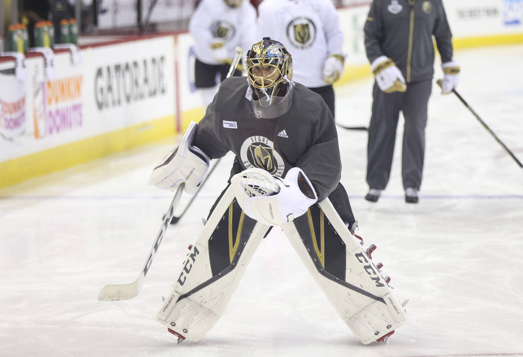 Golden Knights goaltender Marc-Andre Fleury warms up during practice ahead of Game 4 of the Stanley Cup Final at Capital One Arena in Washington on Monday, June 4, 2018. Chase Stevens Las Vegas Re ...