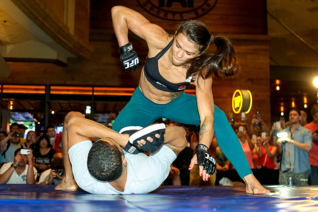 Claudia Gadelha participates in a UFC open workout at the MGM Grand hotel-casino in Las Vegas on Tuesday, July. 5, 2016. (Elizabeth Brumley/Las Vegas Review-Journal) Follow @elipagephoto