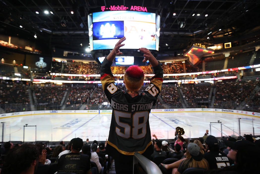 Las Vegas resident Jay Bryant-Chavez reacts during a watch party for Game 4 of the Stanley Cup Final between the Golden Knights and the Washington Capitals at T-Mobile Arena, June 4, 2018 in Las V ...